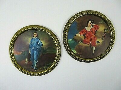 Elpec Round Brass Framed Images Victorian Boys Vintage 1940s Made in England