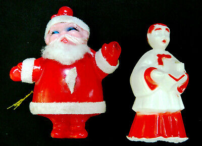 Vintage Plastic CHRISTMAS Ornaments ~ Choir Boy & Santa w/Cotton Beard +Flocking