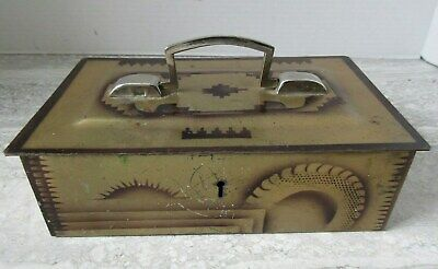Old Vintage Tin Painted Cash Box Art Deco Style Umrao