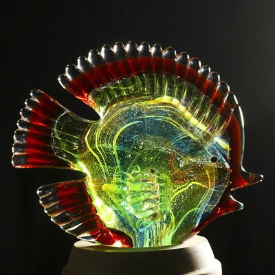 Crystal Tropical Fish Figurine Glass Blown Handmade Decor Collectible Art Gift