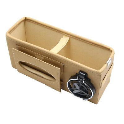 Car Seat Gap Phone Drink Cup Tissue Holder Box Storage Pocket Organizer Beige