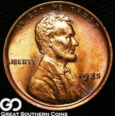 1925 Lincoln Cent Wheat Penny, Beautiful Red Gem BU++