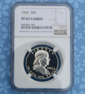 1962 NGC PF67 Cam Silver Franklin Half Dollar, Frosty Gem Proof 67 Cameo Coin