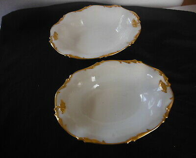 2 ANTIQUE Open SERVING BOWLS - J P LIMOGES France - Gold Gilt on White