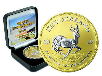 1 oz Silver Krügerrand 2019 1 Edge South Africa Gilded Reverse in Box