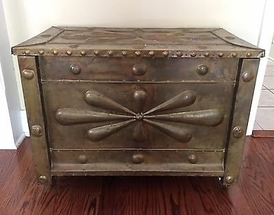 Antique Brass Covered Wood Kindling Box Fireplace Chest W/ Brass Wheels