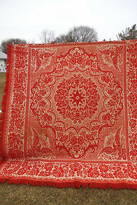 Antique WOVEN Fringed COVERLET BEDSPREAD Red White - Eagle Star Floral 88""