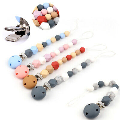 Wooden Silicone Pacifier Chain Dummy Clip Teether Baby Clips Teething Beads Rope