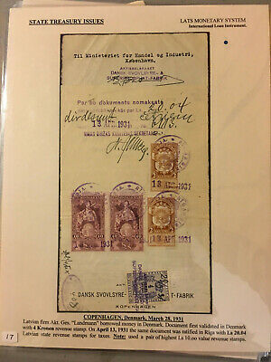 Latvia First Independence State Treasury Fiscal Stamps 1928 Lat Set Usage 1