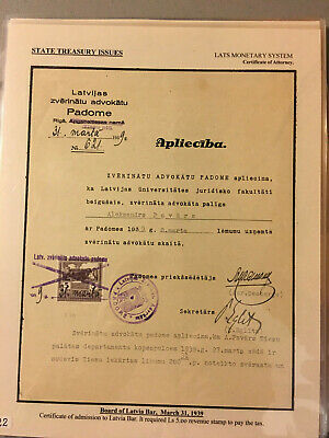 Latvia First Independence State Treasury Fiscal Stamps 1933 Lat Set Usage 2