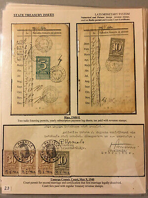 Latvia First Independence State Treasury Fiscal Stamps 1933 Lat Set Usage 3