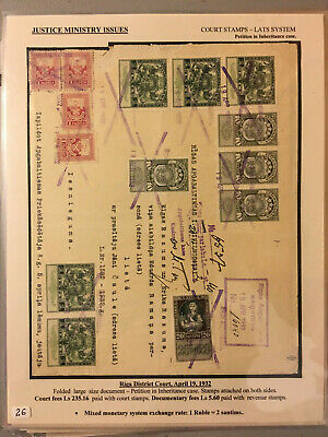 Latvia First Independence Justice Department Court Stamps 1920 Usage 1