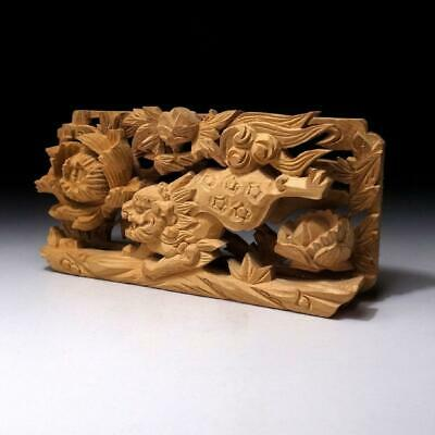 PB9: Japanese Small Hand Carved Wood Sculpture, Buddhist alter, Ranma, Fu Lion