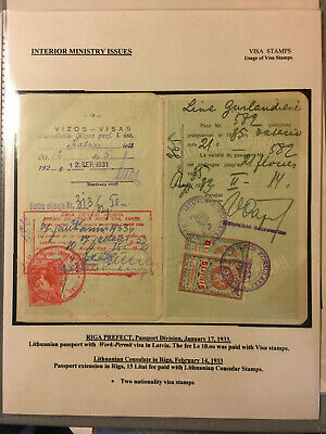 Latvia First Independence Interior Ministry Visa and Tourism 1923 Stamps Usage 1