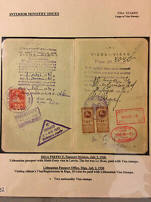 Latvia First Independence Interior Ministry Visa and Tourism 1923 Stamps Usage 2