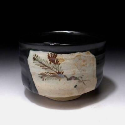 PA1 Vintage Japanese Tea bowl of Oribe ware, Kuro Oribe, Black Oribe, Pine tree