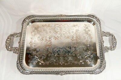 """Antique GNUN Silver Plate Sheffield Pierced Reticulated TRAY 28 1/2"""" Hand Chased"""