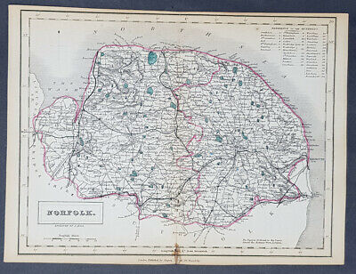 1833 Sydney Hall Antique Map of The English County of Norfolk