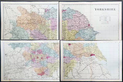 1880 Ordnance Survey Large 4 Sheet antique Lithograph Map of Yorkshire, England
