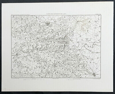 1835 M A Thiers Antique Military Map The Battle of Laon, France, 1814 Napoleon