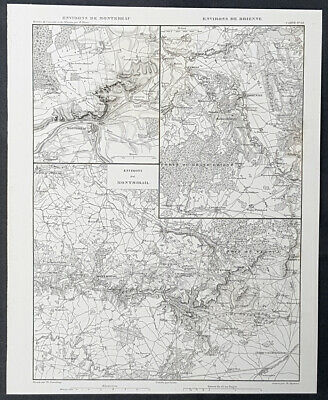 1835 M A Thiers Antique Military Map The Battle of Montmirail, France Napoleon
