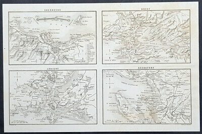 1835 Marie Adolphe Thiers Antique Military Map Cherbourg Brest Lorient Rochefort