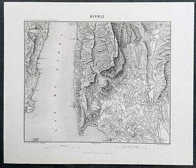 1835 Marie Adolphe Thiers Antique Military Map Battle of Rivoli, Italy, Napoleon