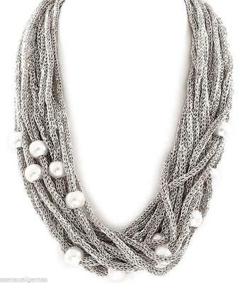 Mesh Beaded Women Necklace Silver Plated New Multi Layered