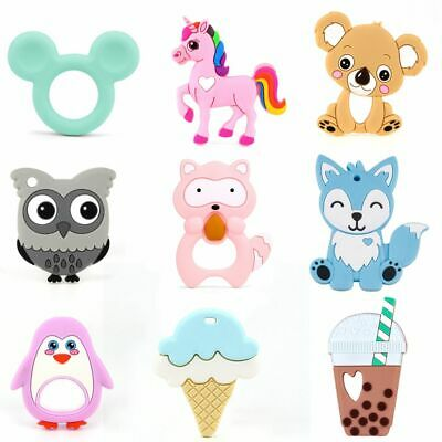 1X Baby Silicone Teether Chewing Toy Animal Ring Soft Teethers Pacifier Feeding
