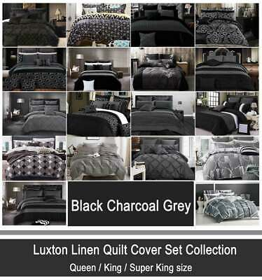 Black Charcoal Grey Quilt Cover Velvet Sequins Striped Bamboo Doona Cover Set