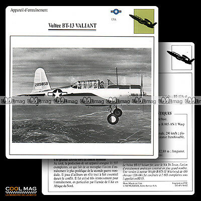 #054.02 VULTEE BT 13 VALIANT - Fiche Avion Airplane Card