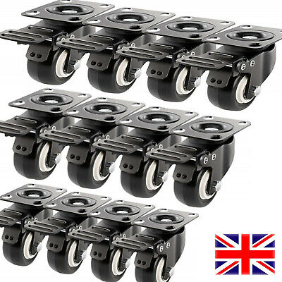 "12Pack Heavy Duty Lockable 2"" Swivel Caster Wheels 360° Rotation Top Plate Brake"