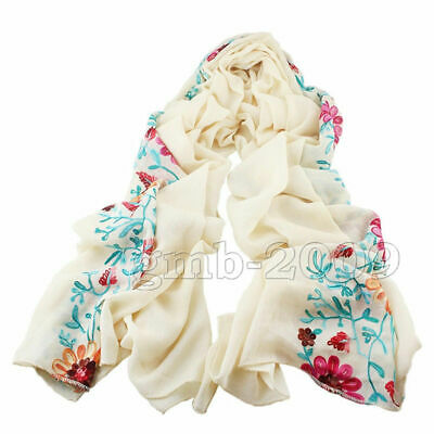 beige Large Embroidered Cotton Linen Floral Scarf Pashmina Shawl Wrap Scarves