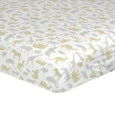 Just Born Dream Fitted Crib Sheet - Taupe Jungle