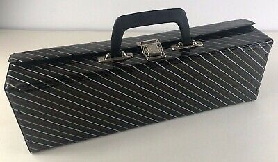Retro Vintage Black Striped Cassette Tape Holder Case