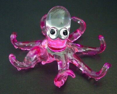 Curio Glass OCTOPUS SQUID Pink Painted Glass Ornament Decorative Glass Animal