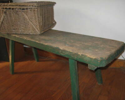 Wonderful Early Antique Primitive Splay Leg Bench Awesome Form,old Paint Aafa Nr