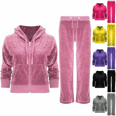 Kids Girls Long Sleeve Jogging Loungewear Velour Velvet Hoodies Tracksuit Set