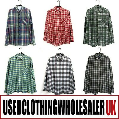 50 Men's Vintage Check Plaid Flannel Shirts Hipster Wholesale Clothing Joblot