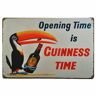 "1930s ""Opening Time is Guinness Time"" Vintage Style Bar Poster 18x24"