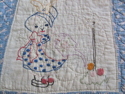 Vintage hand stitched baby crib quilt novelty juvenile cotton blue bunies galore