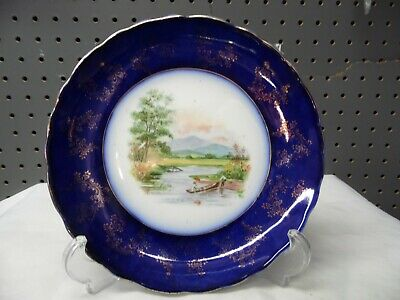 Gorgeous Antique Flow Blue Plate /  Boating Scene / Trent