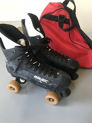 Bauer Turbo Original Quad Roller Skates size 10 Uk Black With Carry Bag