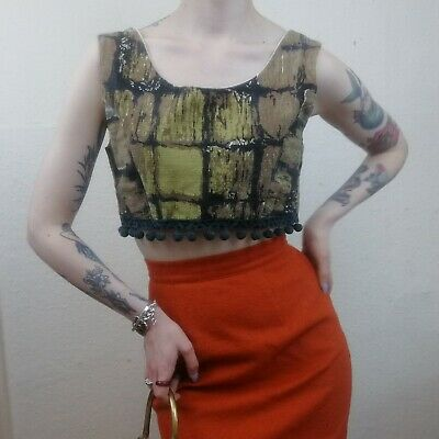 True Vintage Abstract 1950s Bark Cloth Cropped Pop Top VLV Size XSmall UK 6-8