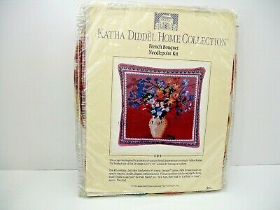 Katha Diddel , 1992, Needlepoint Kit, French Bouquet, New, 10 X 10