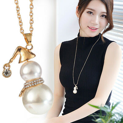 eee5a54f6537d CHRISTMAS LOVE PEARL- Snowman Necklace & Pendant- genuine pearl in ...