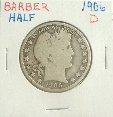 1906-D Silver Barber Half Dollar Beautiful Coin