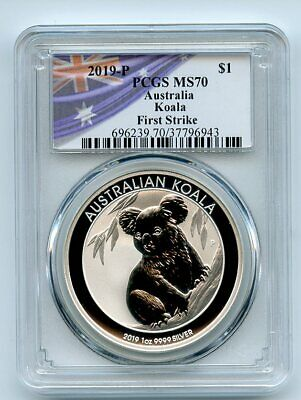 2019 P $1 Australia 1oz Silver Koala PCGS MS70 First Strike Flag