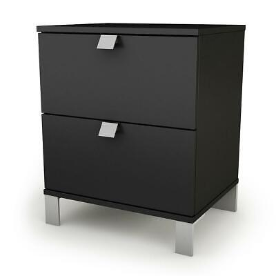 Spark 2-Drawer Nightstand - End Table with Storage- Pure Black