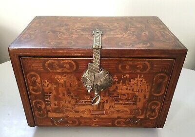 Antique German marquetry table Cabinet, Augsburg 16th 17th century